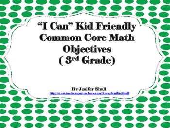 I Can Kid Friendly Common Core Math Objectives 3rd Grade G