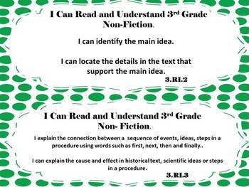 I Can Kid Friendly Common Core Math and Lit Grade 3 Bundle Green Polka Dotted