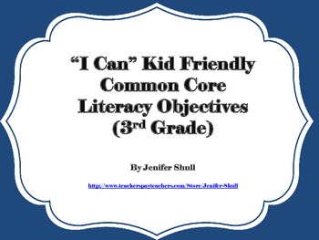 I Can Kid Friendly Common Core Math and Literacy Grade 3 Bundle Large Font