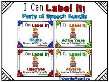 I Can Label It! Parts of Speech Word Work Grammar BUNDLE