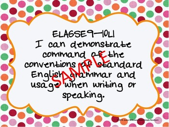 """I Can""  Language Statements  from Georgia Standards of Excellence for ELA"