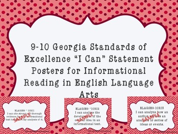 """I Can""  Statements  from Georgia Standards of Excellence for Language Arts"