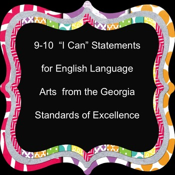 """""""I Can""""  Statements  from Georgia Standards of Excellence"""