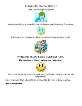 I Can Let My Teacher Help Me Social Story