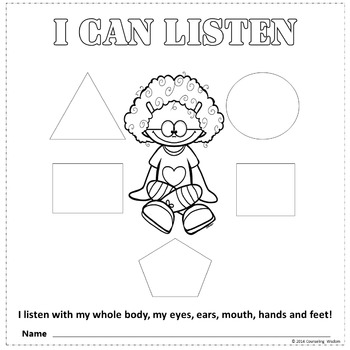 I Can Listen With My Whole Body-Cut-Paste-Color Activity