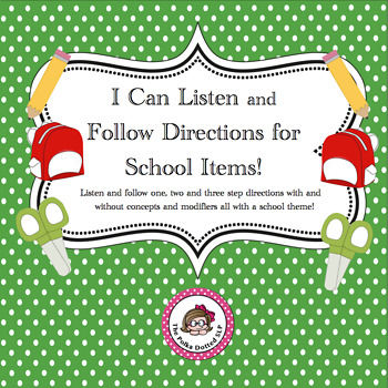 I Can Listen and Follow Directions for School Items