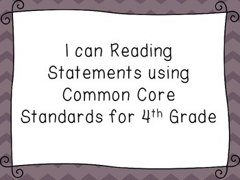 I Can Literature Statements With Common Core Standards