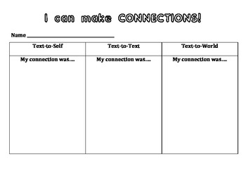 I Can Make Connections Student Worksheet