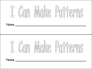 I Can Make Patterns book for Kindergarten or First Grade