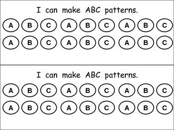 I Can Make Patterns book for Kindergarten or First Grade
