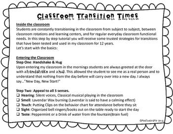 Classroom Management Transitions