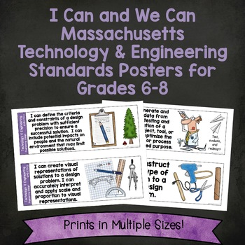 I Can Massachusetts Technology and Engineering Standards Posters for Grades 6-8