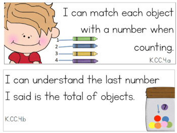 I Can Math Common Core Statements for Kindergarten!