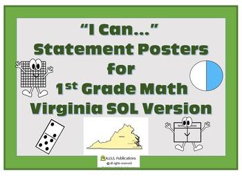 I Can...Math Posters for VA SOL 1st Grade