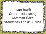 I Can Math Statements With Common Core Standards