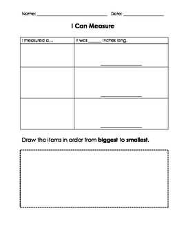 I Can Measure Worksheet