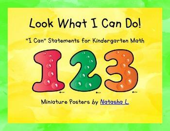"""""""I Can"""" Poster Sampler Set for Kindergarten Math"""