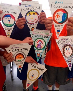 MUSIC Distance Learning: I Can CREATE MUSIC PENNANTS, Banners, Bulletin Boards