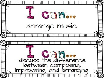 Music I Can  Statements {Fourth Grade}