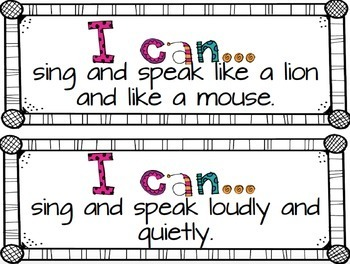 Music I Can Statements {Kindergarten}
