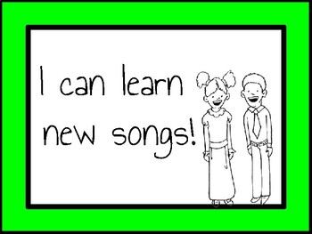 I Can Music Statements Posters and Worksheet