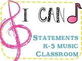 I Can Music Statements for Grades K-5