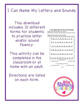I Can Name My Letters and Sounds-Fluency Homework