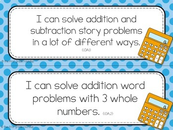 1st Grade Objective Cards (I Cans): Dots, Common Core Aligned