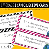 1st Grade Objective Cards (I Cans): Stripes, Common Core Aligned