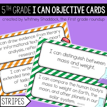 I Can Objective Cards: STRIPES, 5th Grade CCSS