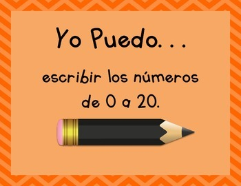 """""""I Can"""" Page-Sized Poster Set for Kindergarten Math (Spanish)"""