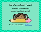 """I Can"" Page-Sized Poster Set for Kindergarten Math (Spanish)"