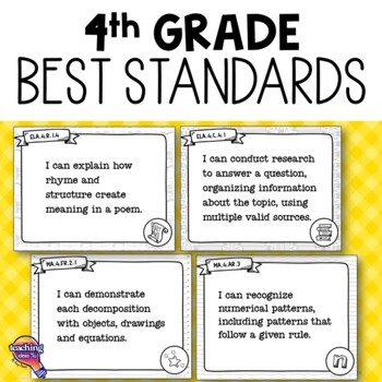 """""""I Can"""" Posters 4th Grade LAFS MAFS NGSSS Core Classes Florida Standards"""