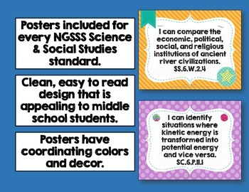 """""""I Can"""" Posters 6th Grade Combo NGSSS Science & Social Studies Florida Standards"""