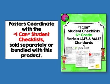 """I Can"" Posters 6th Grade Combo NGSSS Science & Social Studies Florida Standards"