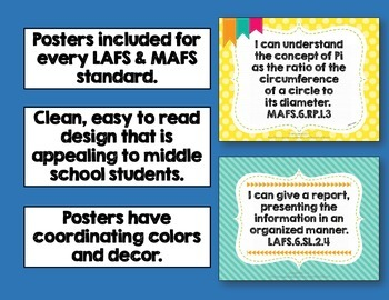 """""""I Can"""" Posters 6th Grade Combo Pack LAFS & MAFS Florida Standards"""