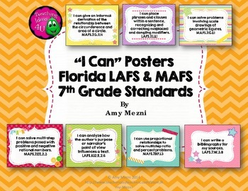 """""""I Can"""" Posters 7th Grade Combo Pack LAFS & MAFS Florida Standards"""