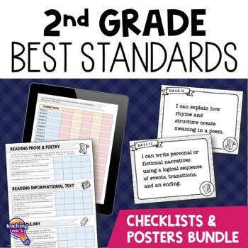 I Can Posters & Checklists Bundle 2nd Grade Florida LAFS MAFS NGSSS Standards