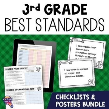 I Can Posters & Checklists Bundle 3rd Grade Florida LAFS M