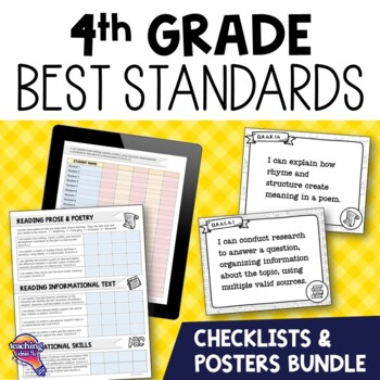 I Can Posters & Checklists Bundle 4th Grade Florida LAFS MAFS NGSSS Standards