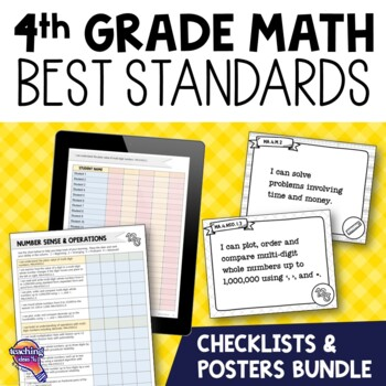 I Can Posters & Checklists Bundle 4th Grade Florida MAFS Standards