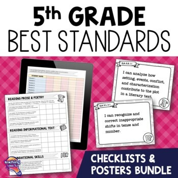 I Can Posters & Checklists Bundle 5th Grade Florida LAFS MAFS NGSSS Standards