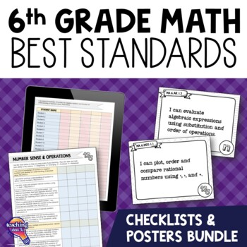I Can Posters & Checklists Bundle 6th Grade Florida MAFS Standards