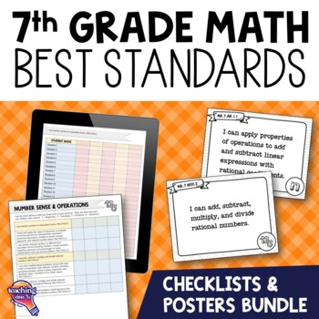 I Can Posters & Checklists Bundle 7th Grade Florida MAFS Standards