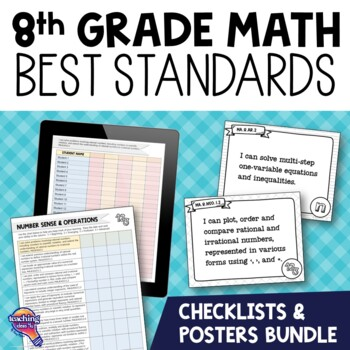 I Can Posters & Checklists Bundle 8th Grade Florida MAFS Standards