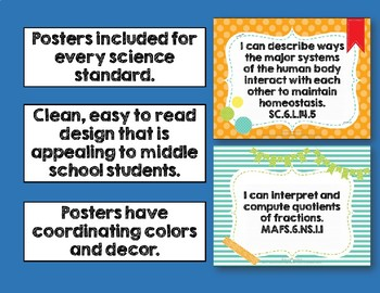 I Can Posters & Student Checklists Bundle 6th Gr Math Science Florida Standards