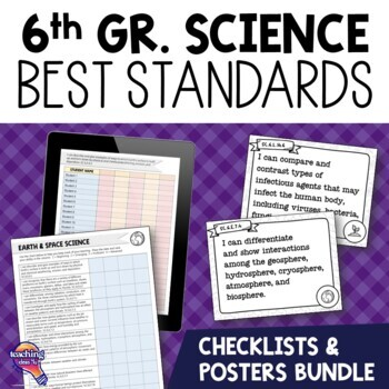 I Can Posters & Student Checklists Bundle 6th Gr NGSSS Science Florida Standards