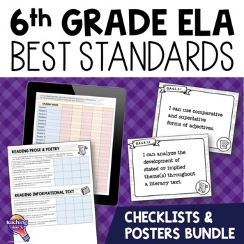 I Can Posters & Student Checklists Bundle 6th Grade Florida LAFS Standards