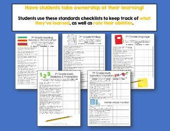 I Can Posters & Student Checklists Bundle 7th Grade Florida LAFS MAFS Standards