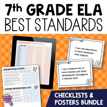 I Can Posters & Student Checklists Bundle 7th Grade Florida LAFS Standards